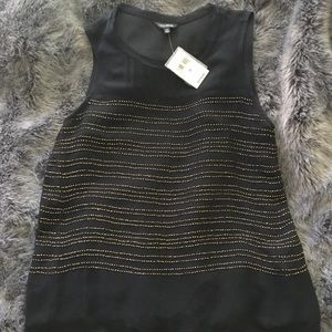 Lucky Brand Gold Sequin Embroidered Tank